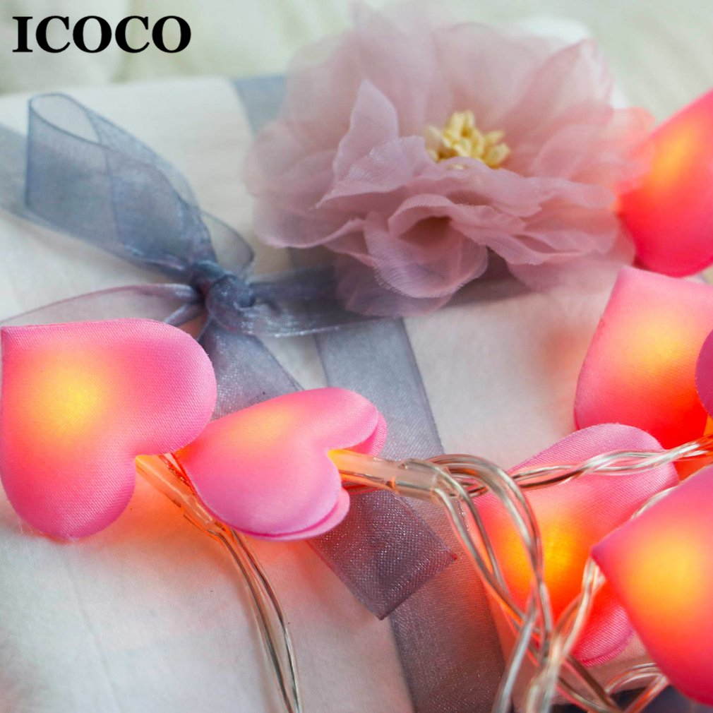 ICOCO Romantic LED Heart Shape Satin String Light  For Bedroom Home Wedding Party Festival Decor Drop Shipping Sale