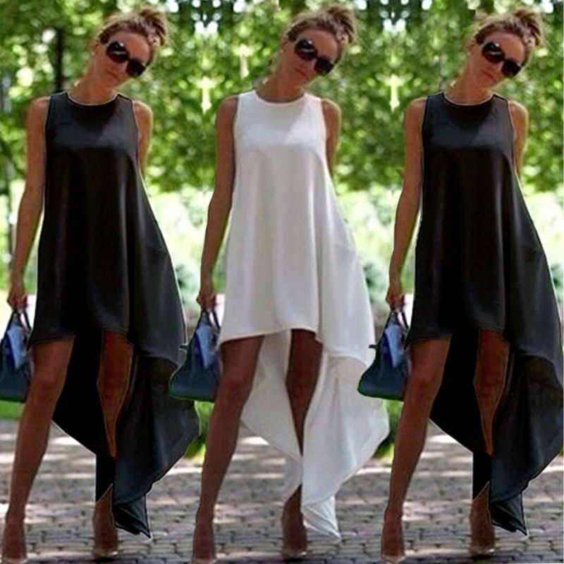 White Summer Women Vintage Sleeveless Dresses 2017 Bodycon Casual Party Evening Irregular Dress Sundress Beach dress Black