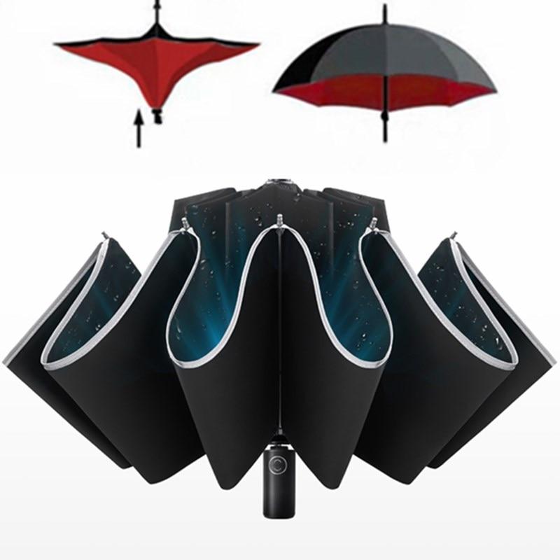 Parapluie automatique pliant coupe-vent 3 parapluie d'affaires pliant pluie hommes voiture automatique inverse parapluies fort Z616