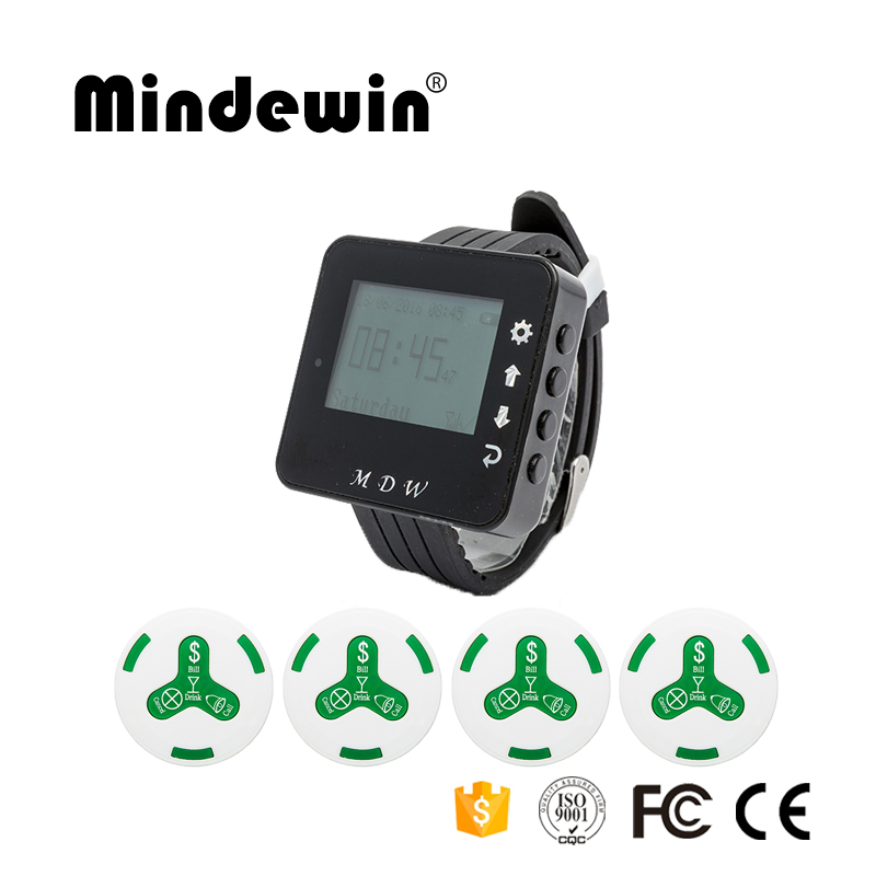 Mindewin Wireless Restaurant Paging System 10PCS Waiter Call Button M-K-4 and 1PCS Receiver Wirst Watch Pager M-W-1 Service Bell table service bell system best discount price for restaurant 433 92mhz pager with ce passed 1 watch 12 call button