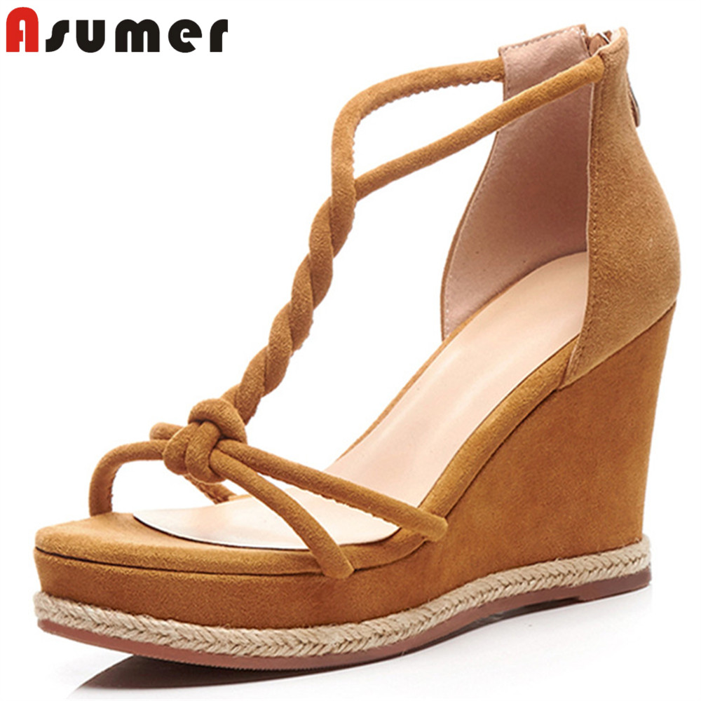 ASUMER 2018 summer new shoes woman ziper platform wedges sandals women elegant casual suede leather high heels shoes new women sandals low heel wedges summer casual single shoes woman sandal fashion soft sandals free shipping
