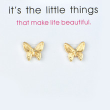 Simple Fashion Lucky Earrings Jewelry Gold Animal Butterfly Stud For Women Wedding Bride
