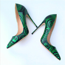 Free shipping  fashion women pumps Casual green patent leather printed pointed toe high heels shoes 12cm 10cm 8cm Stiletto heels free shipping fashion women pumps casual green patent leather printed pointed toe high heels shoes 12cm 10cm 8cm stiletto heels