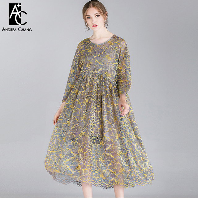 44f5ed48746 summer spring woman dress black white gray yellow floral pattern lace dress  calf length fashion loose casual plus size dress