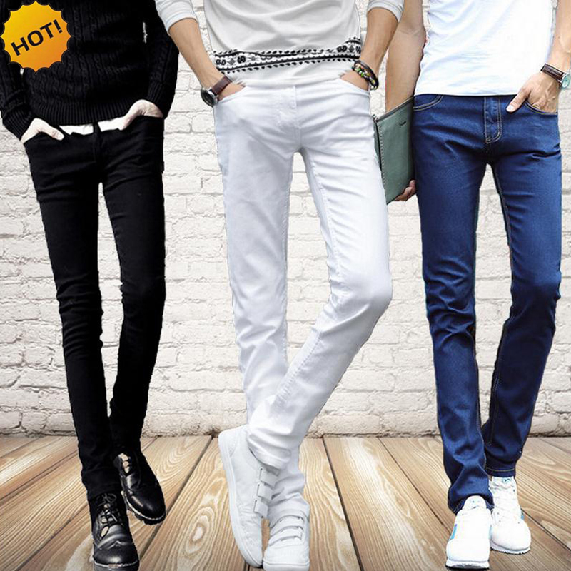 Fashion 2016 Spring Summer Casual Slim Fit White/Black/Blue High Stretch Soft Street Wear Campus Students Skinny Jeans Men 27-36