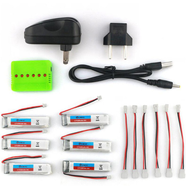 2016 New Arrival 6PCS Eachine 3.7V 200mah 30C Lipo Battery With Charger for  RC Quadcopter