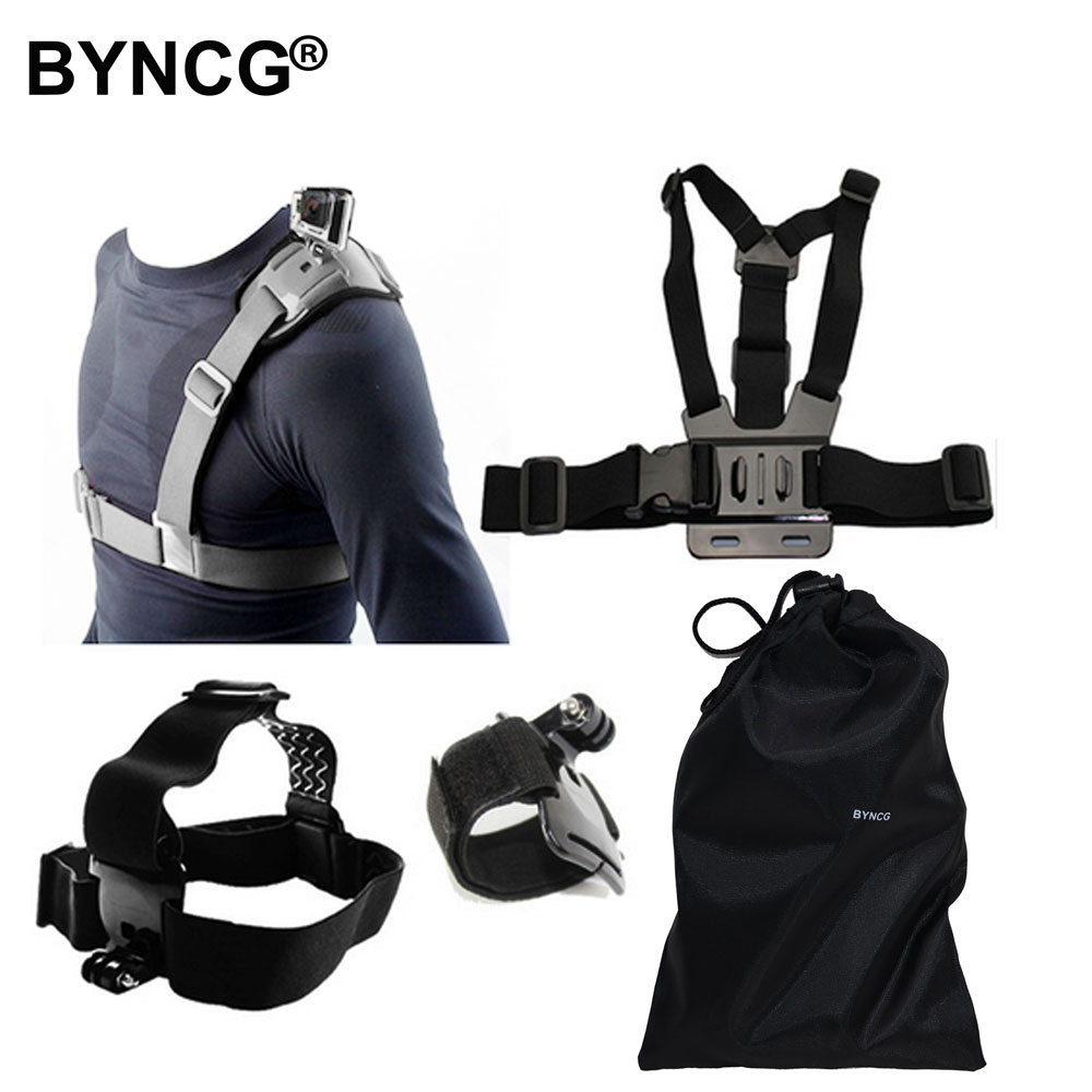 BYNCG for GoPro Hero 6 Accessories Set Go Pro 543 Kit Mount for Wifi SJCAM SJ4000 Xiaomi Yi 4K Camera Eken H9 Gitup Git2 Tripod byncg for gopro hero 6 accessories strap for go pro hero4 hero 1234567 xiaomi yi accessories sport action camera black edition