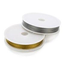 1 rolo de fio de contas de aço inoxidável, prata/ouro, 0.3 0.38 0.45 0.5 0.6 0.7, espessura artesanal envoltório corda fornecedor