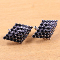 S925 Beautiful Ladies Black Onyx Silver Wholesale extravagance quadrilateral ear clip free shipping