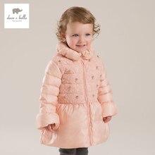 DB4133 дэйв белла зима новорожденных девочек розовый flare рукавом белая утка вниз пальто