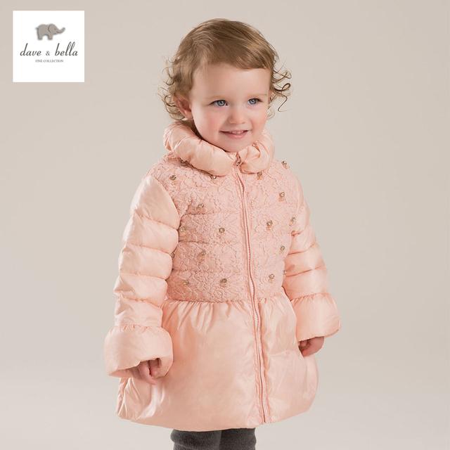 Dave bella db4133 pato branco para baixo casaco de inverno rosa das meninas do bebê manga flare