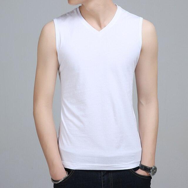 Liseaven Men V Neck Tank Tops Bodybuilding Fitness Tops Tees Slim Fit T Shirt Vest Men's Clothing Sleeveless T-Shirts 4