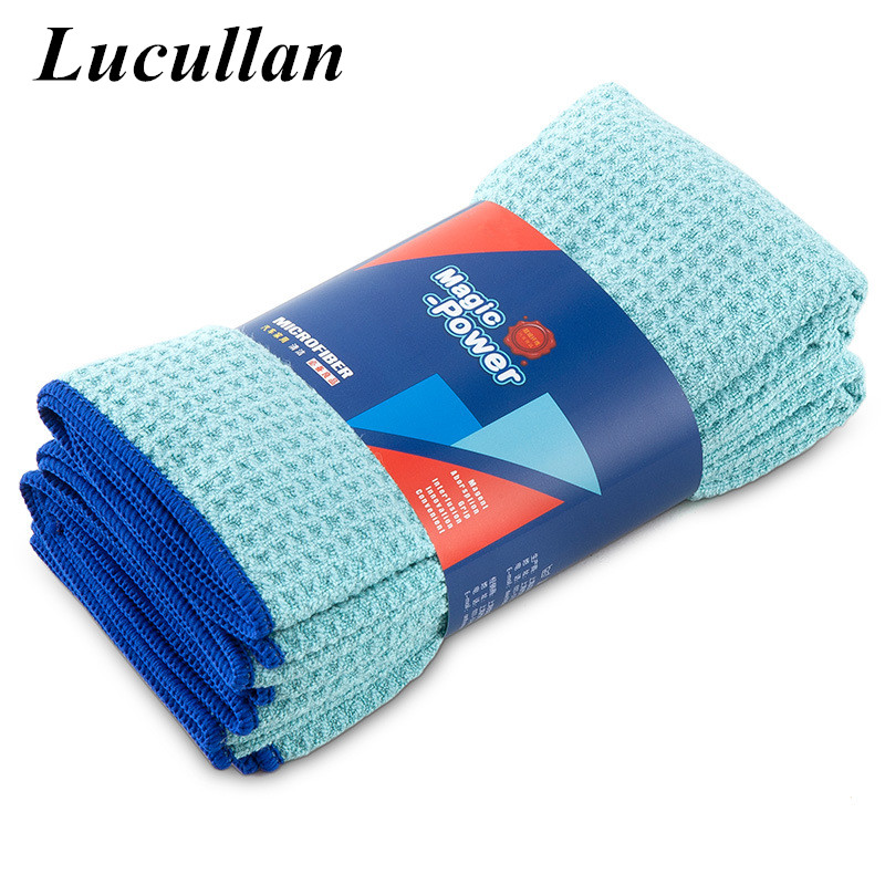 Lucullan Magic Power Super Absorbancy Waffle Weave Cloth 30X40CM 380GSM Microfiber Towels For Glass Paint And Interior