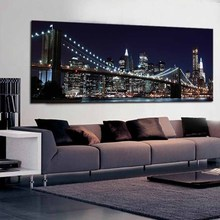 1 Pcs New York Brooklyn Bridge Canvas Prints Painting Night City Landscape Art Picture For Living Room Wall Decor Large Size
