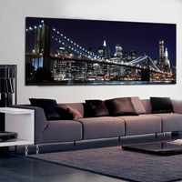 New York Brooklyn Bridge Canvas Prints Painting Large Size Night View City Landscape Wall Art Picture for Living Room Wall Decor