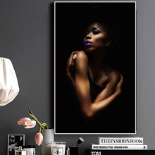 Sexy Black Nude African Woman Portrait Canvas Painting Posters and Prints Scandinavian Wall Art Picture for Living Room Cuadros