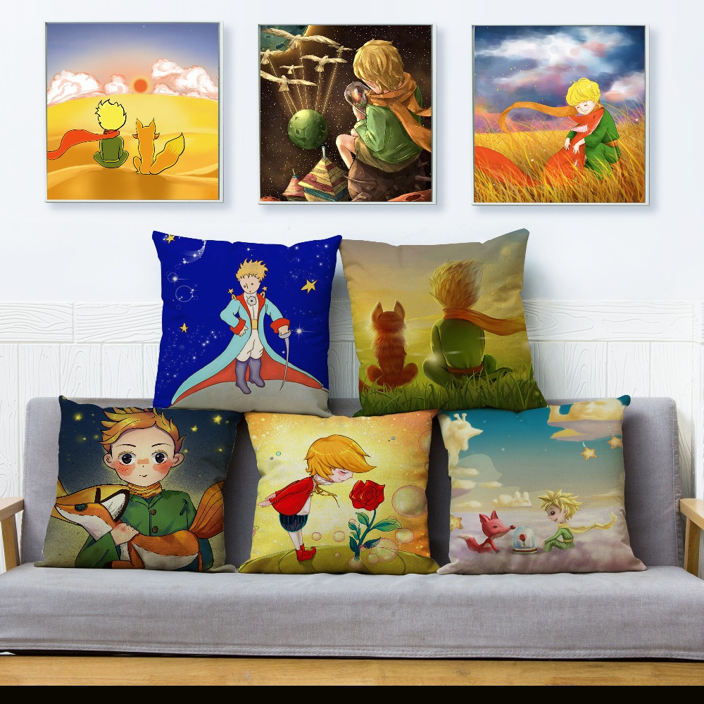 45*45cm Beige Linen Cushion Cover France Anime The Little Prince Fox Print Pillow Covers Sofa Home Decor Throw Pillows Cases