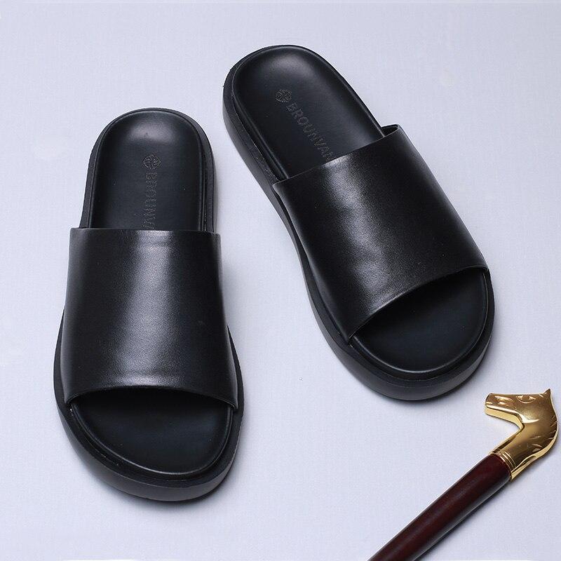 Match koeienhuid Slippers mannen zomer Echt Lederen sandalen Sneakers Mannen Slippers Slippers casual Schoenen strand outdoor - 3