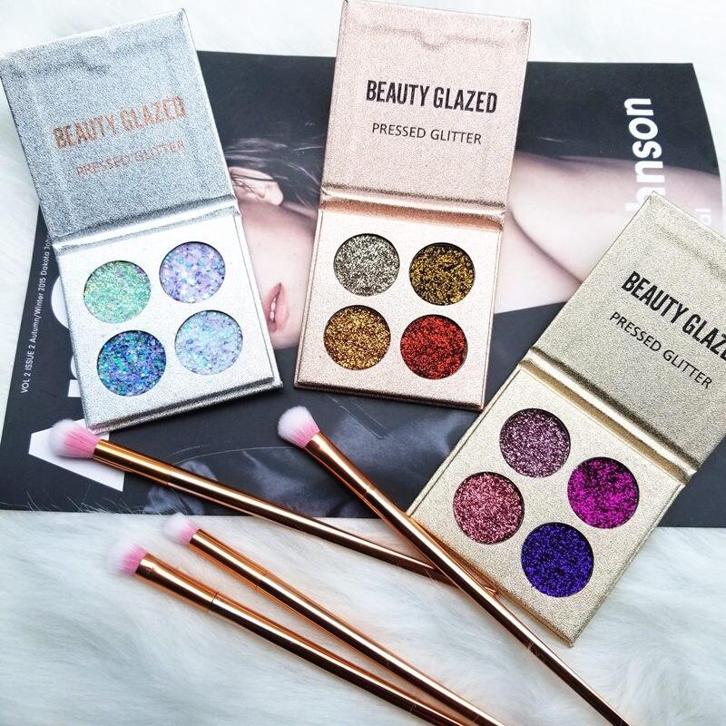 BEAUTY GLAZED Makeup Palette 4 Color Glitters Diamond Eyeshadow Palette Long-lasting Easy To Wear Shimmer Eye Shadow Pallete