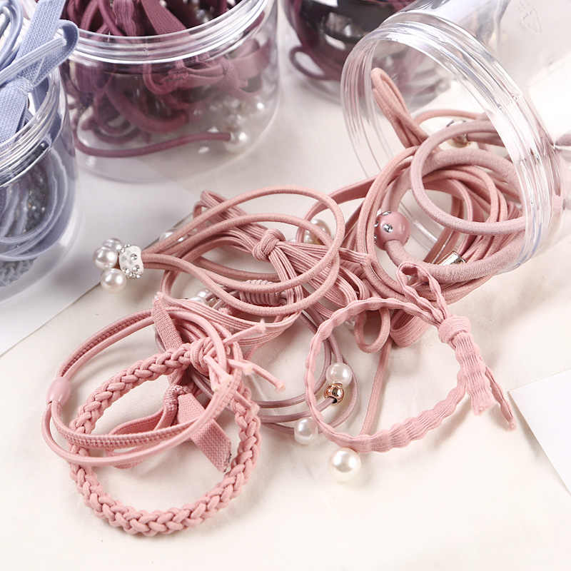 12 Pcs/bottle Fashion Bowknot Ribbon Elastic Hair Bands Rubber Band Gum Cute Bow Hair Ropes Headwear Women Girl Hair Accessories