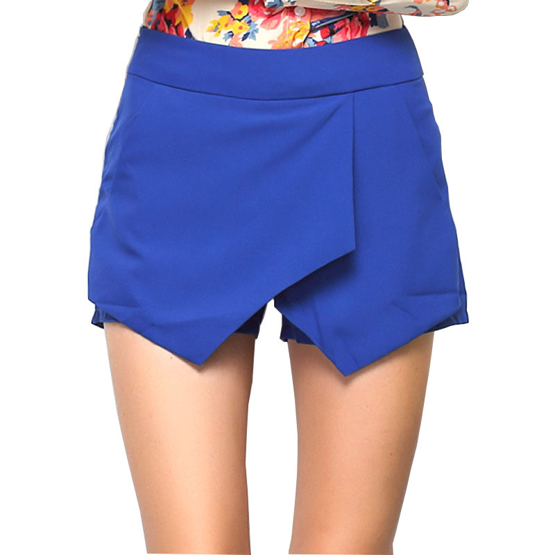 Shorts women 2016 summer fashion elastic waist irregular all match solid plus size casual mini clothing shorts vestidos LY2003