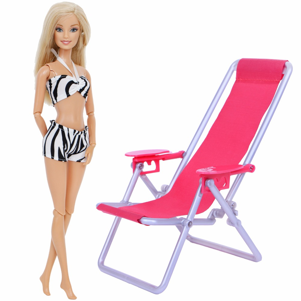 2 Pcs / Lot = 1x Swimsuit Sexy Bikini Black White Tops + 1x Pink Beach Chair 1:12 Miniature Furniture Clothes Doll Kid Toy