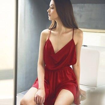 5a2cbf752a25 Senhoras Sexy Vestido De Noite de Cetim de Seda Sem Mangas Camisola Plus  Size Camisola Sleepwear Nightwear Nighties Para As Mulheres Vermelhas