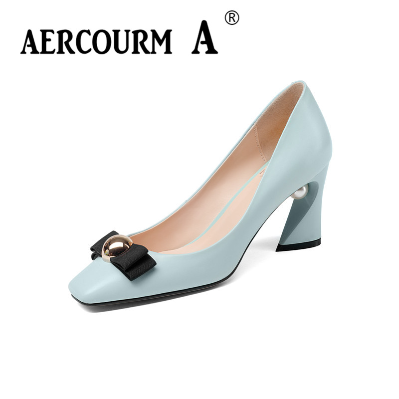 Aercourm A 2018 Women Black Fashion Shoes Female Bright Genuine Leather Shoes Pearl High Heel Pumps Bow Brand New Shoes Z333 aercourm a 2018 new women genuine leather shoes ladies white pink dress solid shoes thin heel women pointed head pumps fde1121