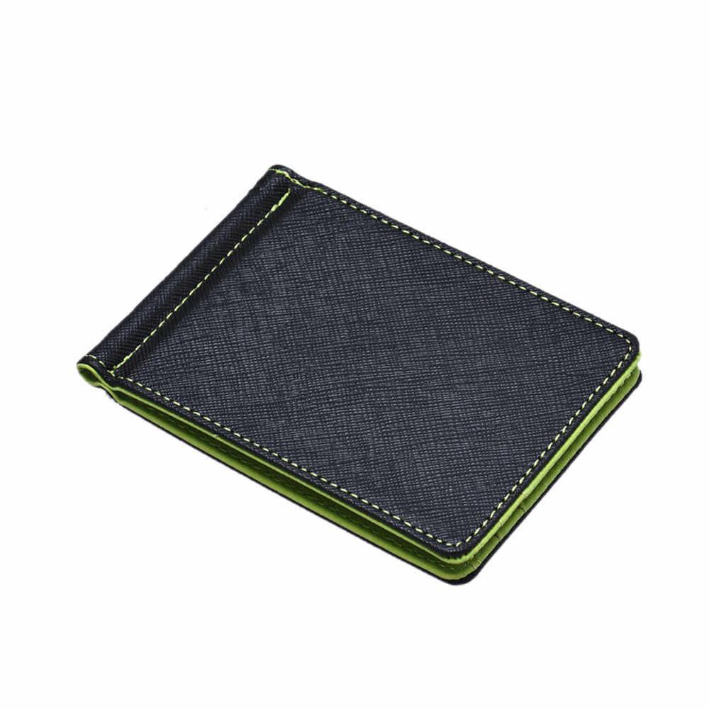 寝台 #4001 メンズ革シルバースリム財布ブラック ID クレジットカードホルダー送料無料