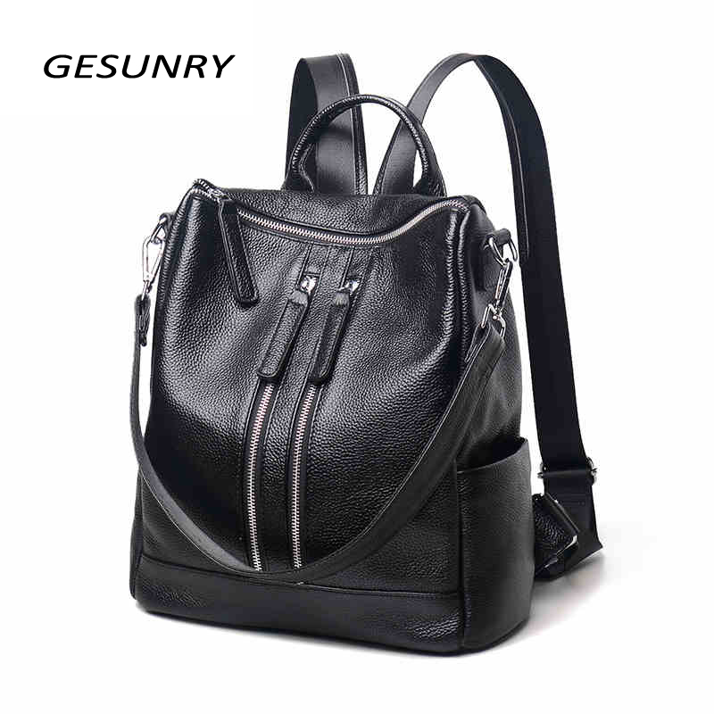 Genuine Leather Backpack Large Capacity Black Shoulder Bag Women Casual Backpack Teenage Girls School Travel Bags