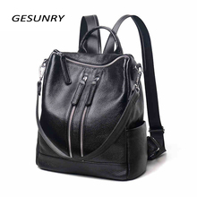 Genuine Leather Backpack Large Capacity  Black Shoulder Bag Women Casual Backpack Teenage Girls School Travel Bags new women s bags fashion trend genuine leather backpack large capacity ladies casual backpacks black shoulder bag