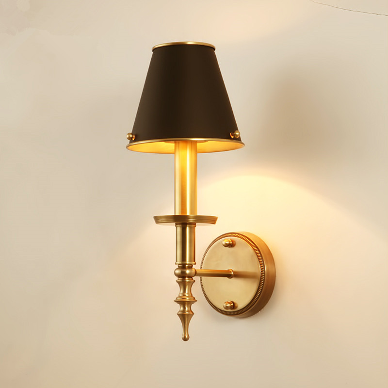 American Country Copper E14 LED Wall Lamp Bedroom Bedside Restaurant Deco Light Simple Living Room Copper