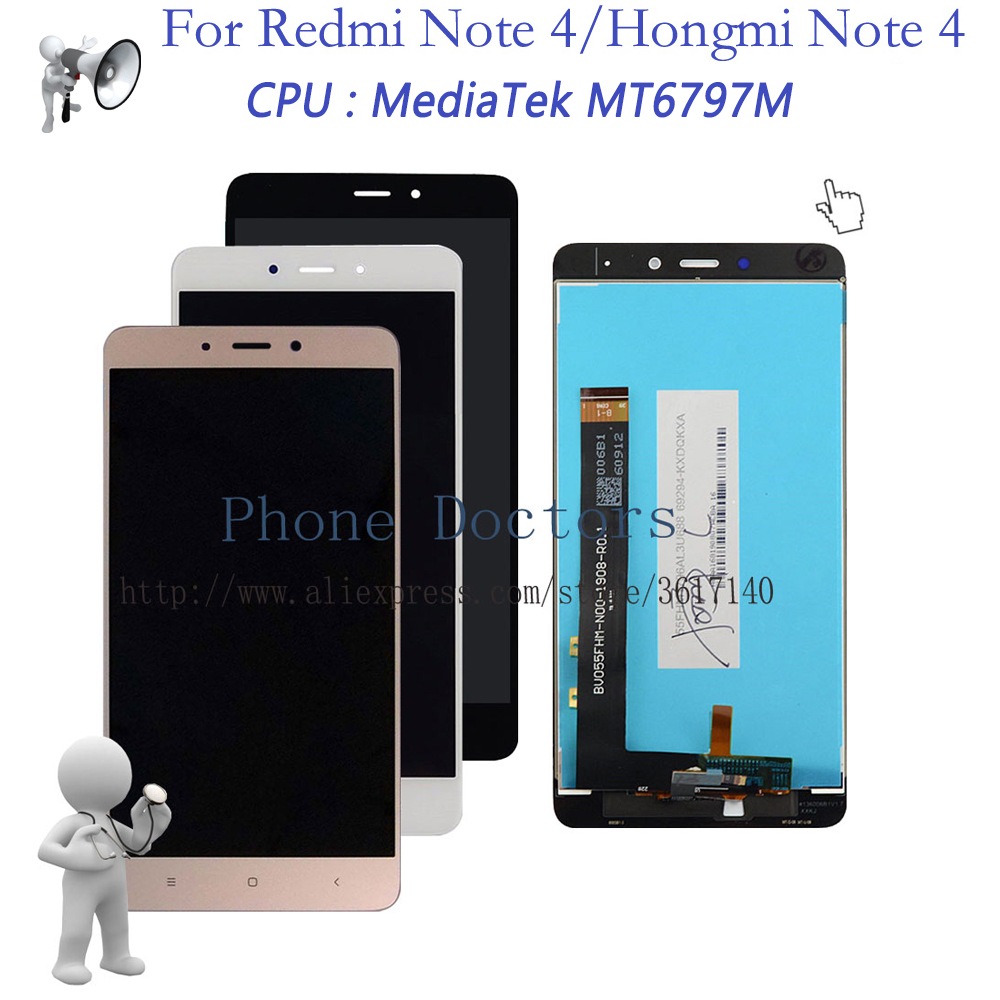 New 5.5'' For Xiaomi Redmi Note 4 Touch Screen Digitizer Glass + LCD Display Assembly For Xiaomi Hongmi Note 4 / Red Rise Note 4