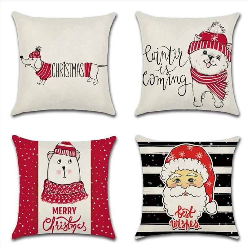 Cartoon Animal Dog Printed Pillow Case Merry Christmas Santa Claus Pillow Cover Home Supplies Xmas Gift Pillowcase 45cx45cm