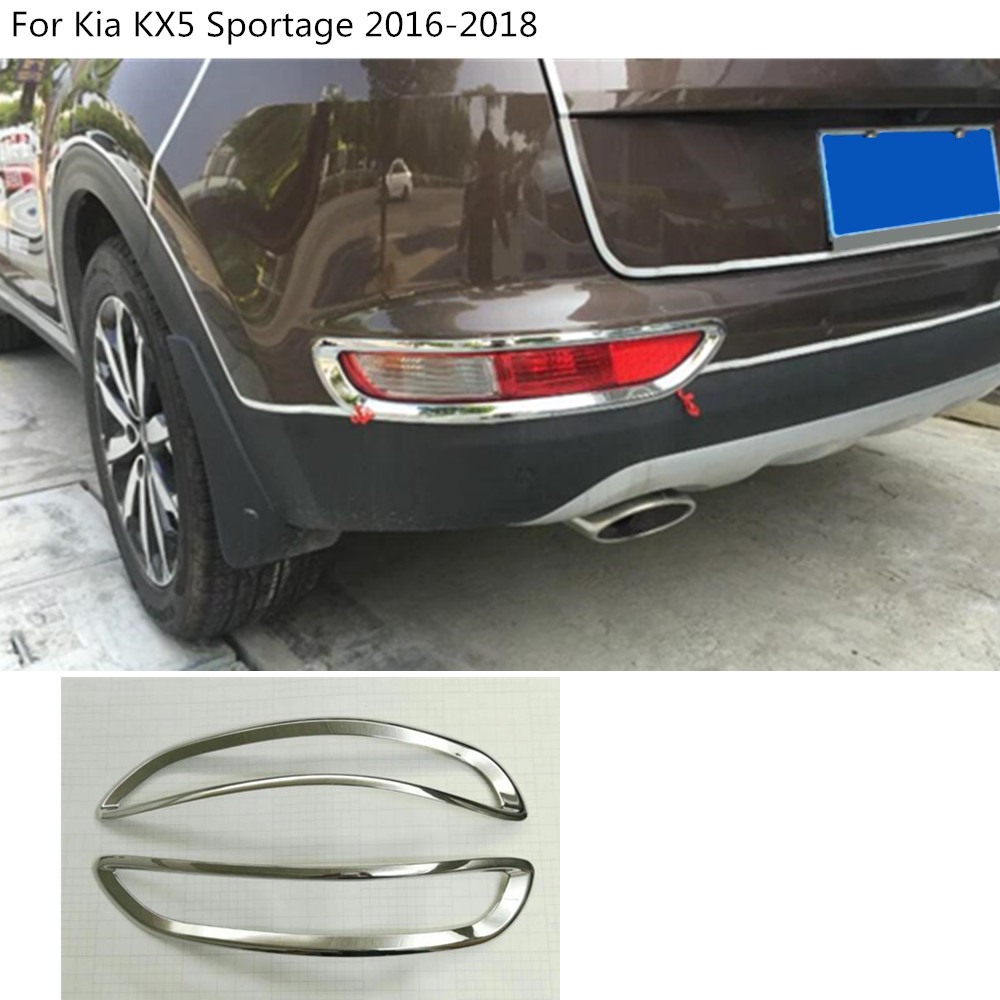 High quality car Styling cover ABS Chrome rear tail fog Light Trim frame molding parts 2pcs For Kia KX5 Sportage 2016 2017 2018