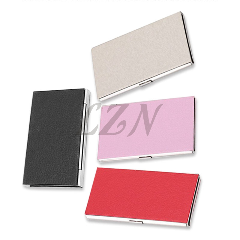 LZN PU Leather Business Credit Card Holder For Business Office Steel Portable Aluminum ID Name Card Bank Male Cardholder