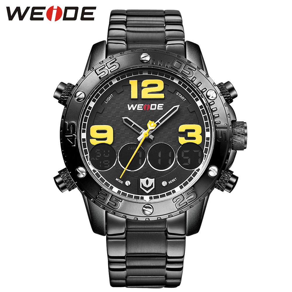 WEIDE Auto Date Famous Business  Brand  Watch Alarm Hot Sale Military Watches Male Clock   Analog Digital 3ATM Waterproof weide men running sports quartz watch black strap dual date day back light analog digital alarm clock military watches