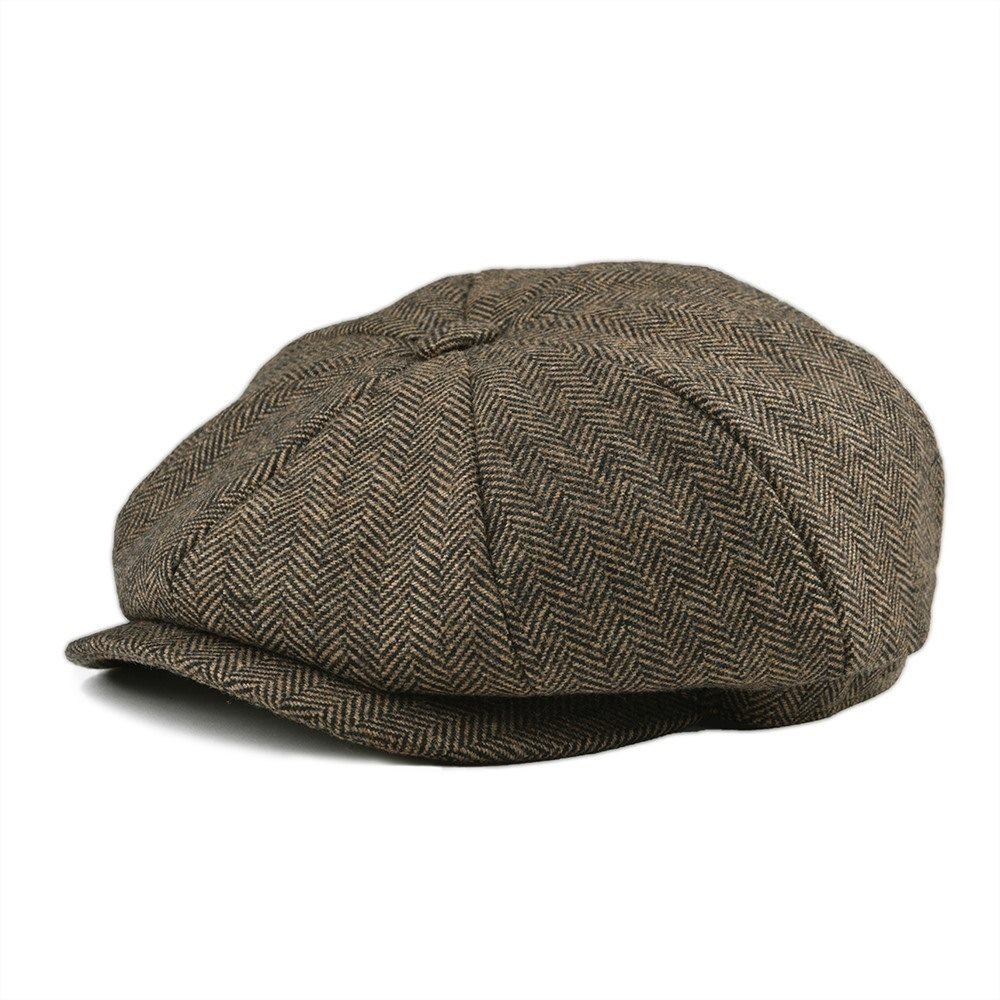BOTVELA Soft Tweed Wool 8 Piece Khaki Herringbone Newsboy Cap Men 8 Panel Flat Caps Women Beret Hat 005