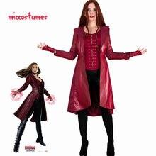 Scarlet bruxa cosplay traje vermelho casaco mulher roupa de halloween colete calças