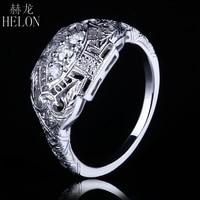 HELON VVS/DEF Moissanite Ring Sterling Silver 925 Lab Grown Moissanite Diamond Engagement Ring Women Vintage Trendy Fine Jewelry