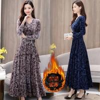 Velvet dress plus size long sleeve maxi party warm dresses elegant women winter vintage bodycon slim clothes runway red wine