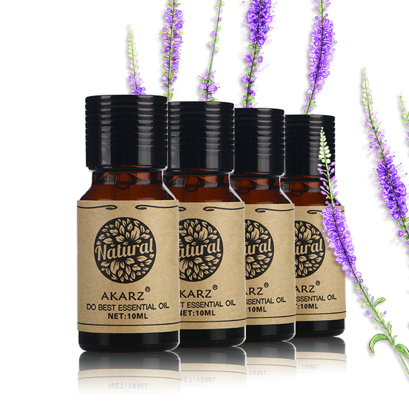 AKARZ Famous brand Patchouli Lavender Orange Chamomile essential oil Pack For Aromatherapy, Massage,Spa, Bath 10ml*4 meijuya aromatherapy essential oil lavender scent 10ml