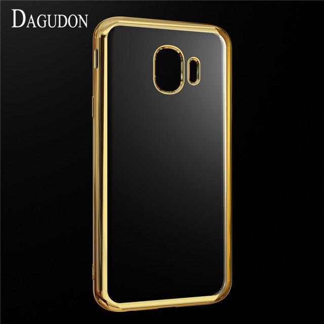 Dagudon Прозрачный чехол для samsung Galaxy J4 2018 случаев J400F Роскошные золотое покрытие Мягкий силиконовый чехол для samsung J4 2018