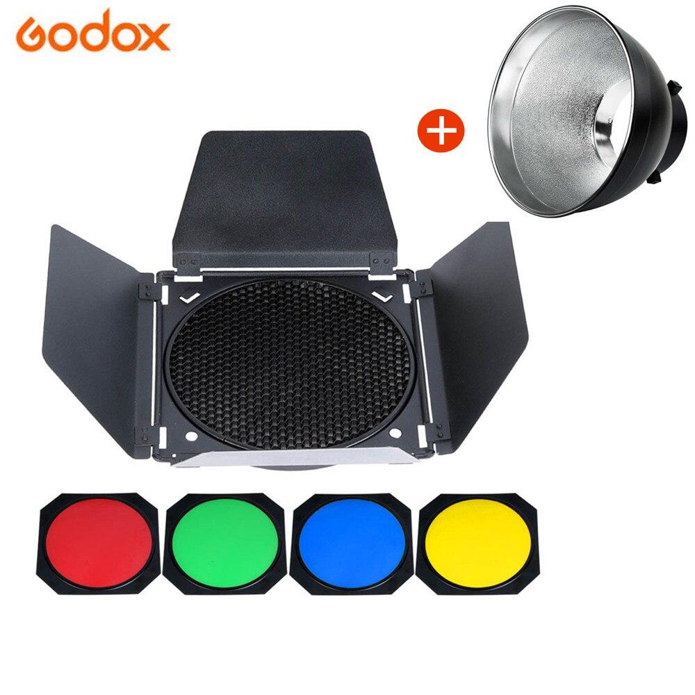 Godox Studio Standard Bowens Mount Reflector for Studio Flash Strobe Light+Godox BD-04 - Honeycomb Grid adearstudio studio lights oblique lampshade interface convertible photography radar reflector bowens mount no00d