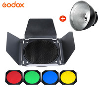 Godox Studio Standard Bowens Mount Reflector for Studio Flash Strobe Light+Godox BD 04 Honeycomb Grid