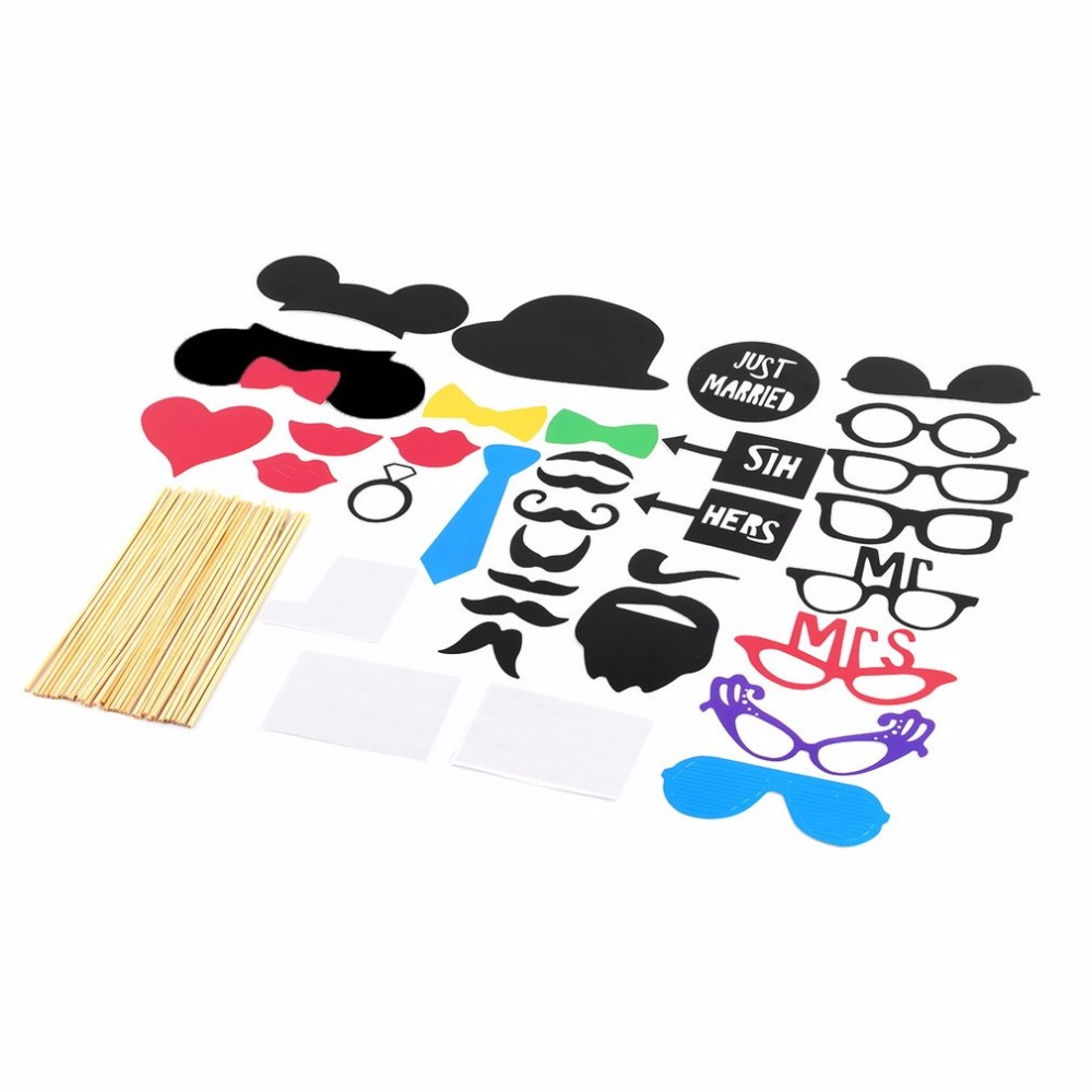 31PCS/Set DIY Eye Face Card Paper Mask Po Booth Props Mustache On A Stick Wedding Birthday Halloween Party Decor Accessories