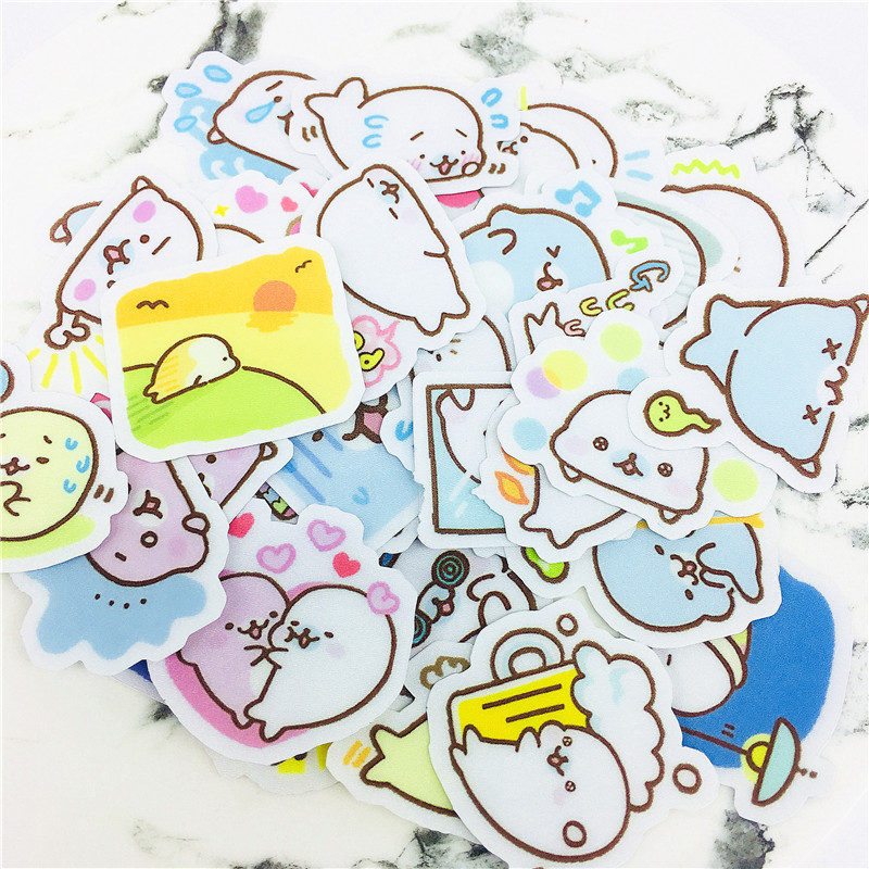 38 PCS Anime Cartoon Dolphin Couple Mini Stickers  And Scrapbooking Stickers Book Student Label Paper Sticker DIY Stationery