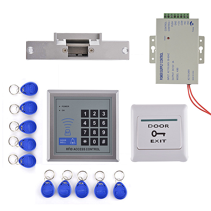 RFID Access Control System Kit Set +Strike Door Lock +10 Rfid +Power +Exit Button+Free ship free ship by dhl access control kit waterproof access control switch power electric mute lock exit button 10 em cards sn em t10
