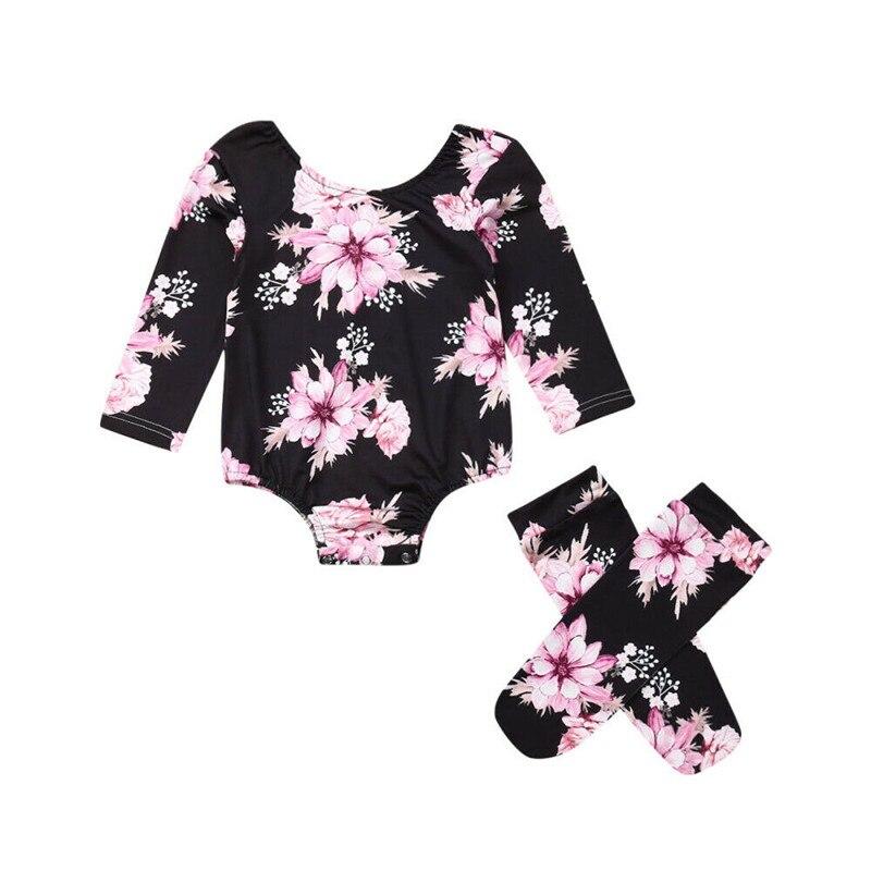 2019 комбинезон с длинными рукавами и цветочным принтом для новорожденных девочек + гетры, милая летняя одежда для девочек от 0 до 18 месяцев