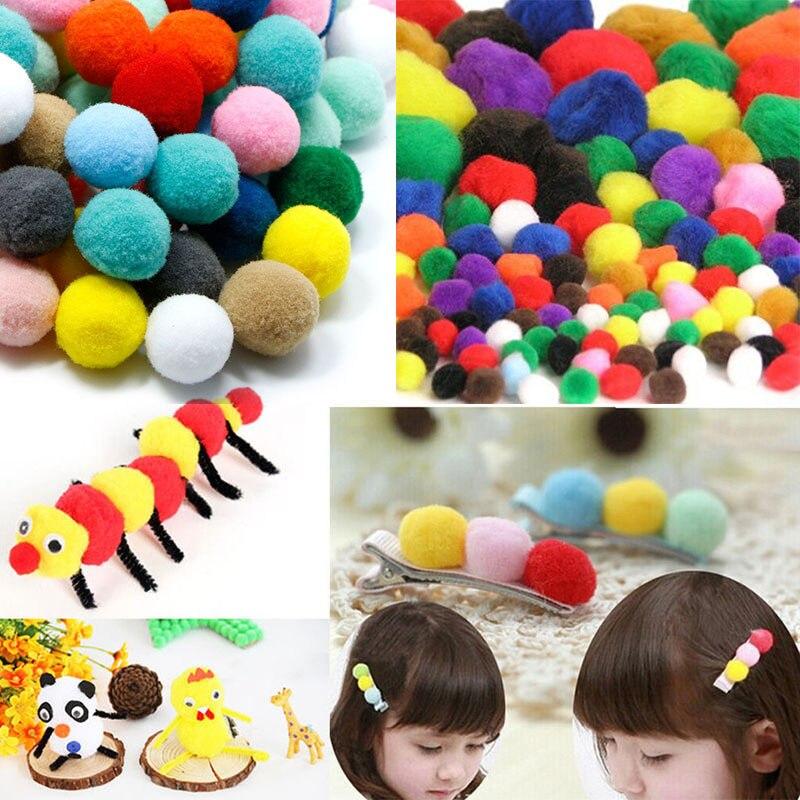 100 unids/lote 1-3 cm niños diy craft assorted mullido pom poms pompones bola 5